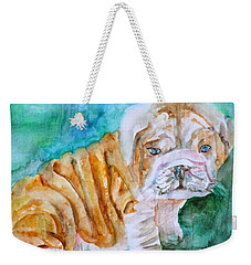 Weekender Tote Bag featuring the painting Bulldog Cub  - Watercolor Portrait by Fabrizio Cassetta