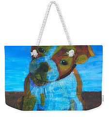 Weekender Tote Bag featuring the painting Bulldog Puppy by Donald J Ryker III