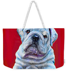Bulldog Puppy On Red Weekender Tote Bag by Jane Schnetlage