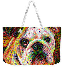 Bulldog Surreal Deep Dream Image Weekender Tote Bag by Matthias Hauser