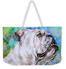 Weekender Tote Bag featuring the painting Bulldog - Watercolor Portrait.4 by Fabrizio Cassetta