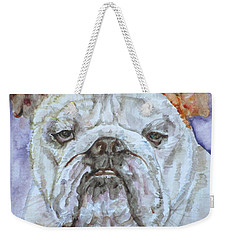 Weekender Tote Bag featuring the painting Bulldog - Watercolor Portrait.5 by Fabrizio Cassetta