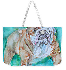 Weekender Tote Bag featuring the painting Bulldog - Watercolor Portrait.6 by Fabrizio Cassetta
