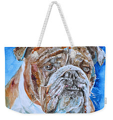 Weekender Tote Bag featuring the painting Bulldog - Watercolor Portrait.8 by Fabrizio Cassetta