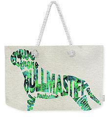 Weekender Tote Bag featuring the painting Bullmastiff Watercolor Painting / Typographic Art by Ayse and Deniz