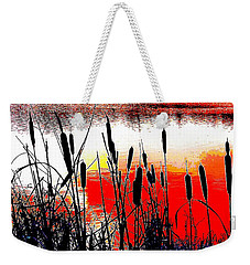 Bullrushes Against The Sunset Weekender Tote Bag