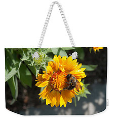 Bumble Bee Collecting Pollen On Sunflower Weekender Tote Bag