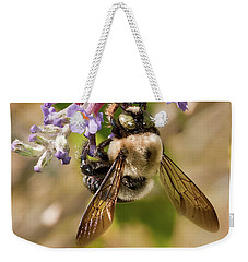 Bumble Bee Up Close And Personal Weekender Tote Bag by Lara Ellis