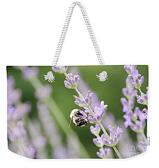 Weekender Tote Bag featuring the photograph Bumblebee On The Lavender Field 2 by Andrea Anderegg