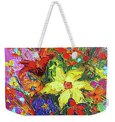 Weekender Tote Bag featuring the painting Colorful Wildflowers, Abstract Floral Art by Patricia Awapara