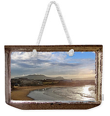 Bundoran And The Dartry Mountains Framed In The Window Of The Rougey Walk Shelter Weekender Tote Bag