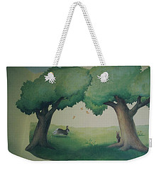 Bunnies Running Under Trees Weekender Tote Bag