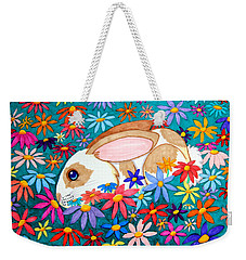Bunny And Flowers Weekender Tote Bag by Nick Gustafson