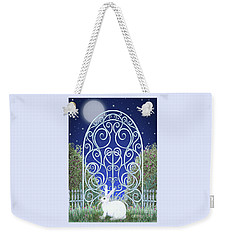 Weekender Tote Bag featuring the mixed media Bunny, Gate And Moon by Lise Winne