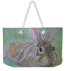 Weekender Tote Bag featuring the drawing bunny named Rocket by AJ Brown