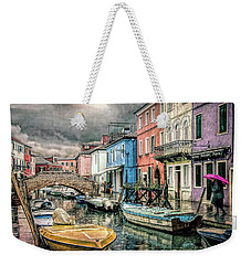 Weekender Tote Bag featuring the photograph Burano In The Rain by Brian Tarr