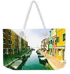 Weekender Tote Bag featuring the digital art Burano Venice by Kai Saarto