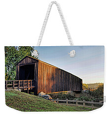 Weekender Tote Bag featuring the photograph Burfordville Covered Bridge by Cricket Hackmann
