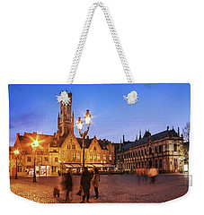 Weekender Tote Bag featuring the photograph Burg Square At Night - Bruges by Barry O Carroll