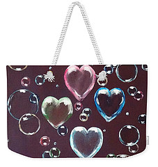 Burgundy Bubbles Weekender Tote Bag