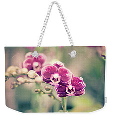 Burgundy Orchids Weekender Tote Bag by Ana V Ramirez
