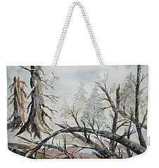 Weekender Tote Bag featuring the painting Burned Forest In The Snow by Ellen Levinson