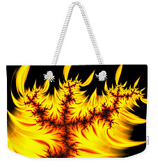 Weekender Tote Bag featuring the digital art Burning Fractal Flames Warm Yellow And Orange by Matthias Hauser
