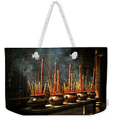 Weekender Tote Bag featuring the photograph Burning Incense by Lucinda Walter