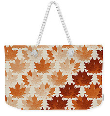 Weekender Tote Bag featuring the digital art Burnt Sienna Autumn Leaves by Methune Hively