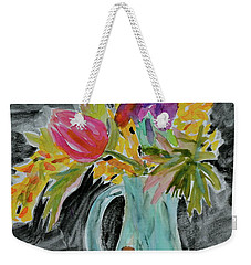 Weekender Tote Bag featuring the painting Bursting Bouquet by Beverley Harper Tinsley