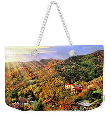 Weekender Tote Bag featuring the digital art Bus With A View by Jennie Breeze
