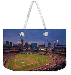 Busch Stadium St. Louis Cardinals Ball Park Village Twilight #3c Weekender Tote Bag by David Haskett