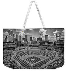 Busch Stadium St. Louis Cardinals Black White Ballpark Village Weekender Tote Bag by David Haskett