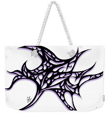Weekender Tote Bag featuring the drawing Bushal A Thorns Purple by Jamie Lynn