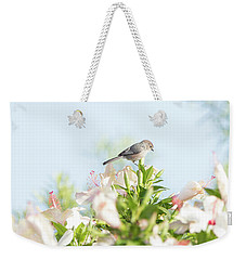 Bushtit Atop The Hibiscus Weekender Tote Bag