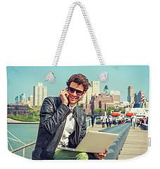 Businessman Enjoying Working Outside Weekender Tote Bag