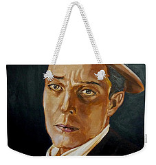 Weekender Tote Bag featuring the painting Buster Keaton Tribute by Bryan Bustard