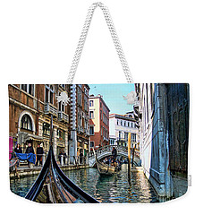 Weekender Tote Bag featuring the photograph Busy Canal by Roberta Byram