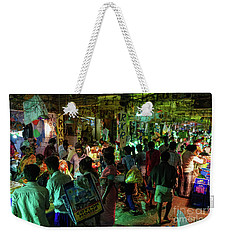 Weekender Tote Bag featuring the photograph Busy Chennai India Flower Market by Mike Reid