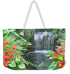 Weekender Tote Bag featuring the photograph Butchart Gardens Waterfall by Wendy McKennon