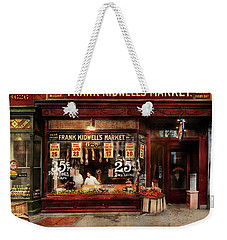 Weekender Tote Bag featuring the photograph Butcher - Meat Priced Right 1916 by Mike Savad