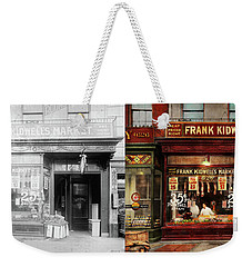 Weekender Tote Bag featuring the photograph Butcher - Meat Priced Right 1916 - Side By Side by Mike Savad