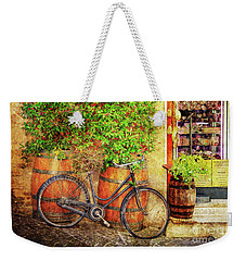 Weekender Tote Bag featuring the photograph Butcher Shop Bicycle by Craig J Satterlee