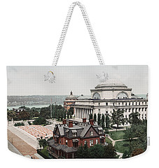 Weekender Tote Bag featuring the painting Butler Library At Columbia University by Artistic Panda