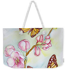 Butterflies And Apple Blossoms Weekender Tote Bag by Inese Poga
