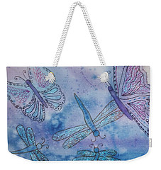 Weekender Tote Bag featuring the painting Butterflies And Dragonflies by Ellen Levinson