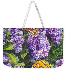 Butterflies And Lilacs Weekender Tote Bag by Carol Wisniewski