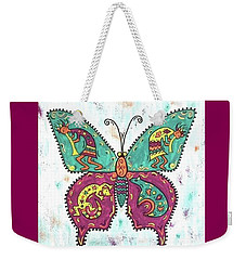 Weekender Tote Bag featuring the painting Butterflies Are Free by Susie WEBER