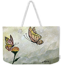 Weekender Tote Bag featuring the painting Butterflies by Edwin Alverio