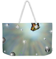 Weekender Tote Bag featuring the digital art Butterfly Bubbles by Darren Cannell